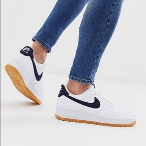 Nike Air Force 1 Navy Swoosh Gum Bottom